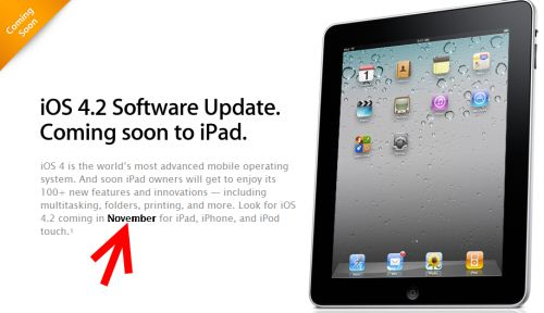 iOS 4.2 para iPad, disponible en Noviembre, con Airplay e impresión en red